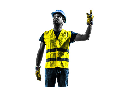 signaling: one construction worker signaling looking up hoist silhouette isolated in white background