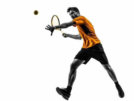 흰색 배경에 실루엣 한 남자 테니스 선수 스톡 콘텐츠