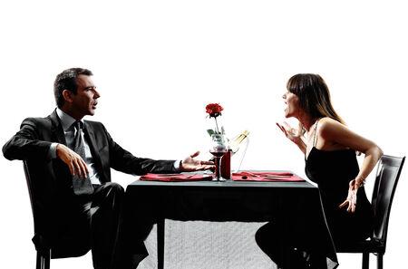 pareja discutiendo: parejas amantes dinning discutir disputa Foto de archivo