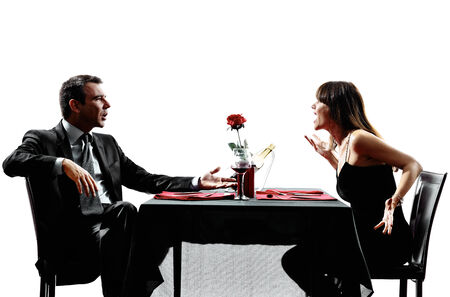 personas discutiendo: parejas amantes dinning discutir disputa Foto de archivo