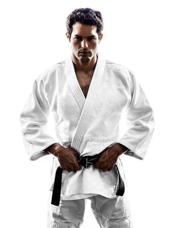 judo: un hombre luchador judoka en la silueta
