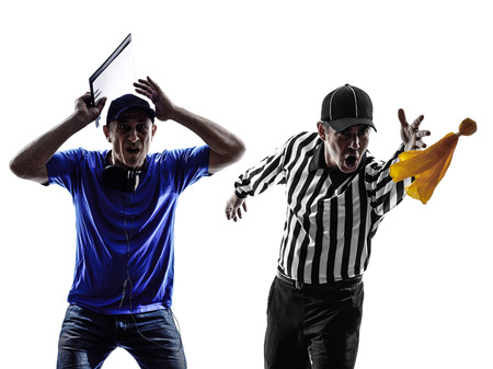 penalty flag: american football referee and coach conflict dispute in silhouette on white background