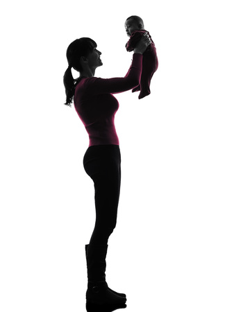 one  woman holding baby silhouette on white  photo