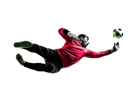 portero: un jugador de fútbol portero hombre que salta en silueta aislado blanco Foto de archivo