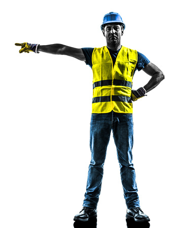 signaling: one construction worker signaling with safety vest silhouette isolated in white background