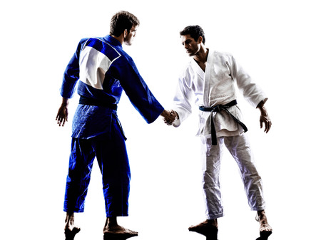 fighting arts: two judokas fighters fighting men handshake in silhouette on white background