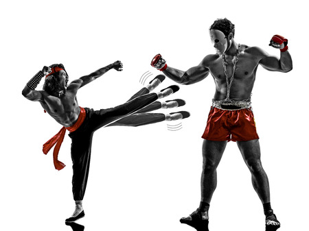 two manga video games martial arts fighters fighting combat in silhouettes on white background photo