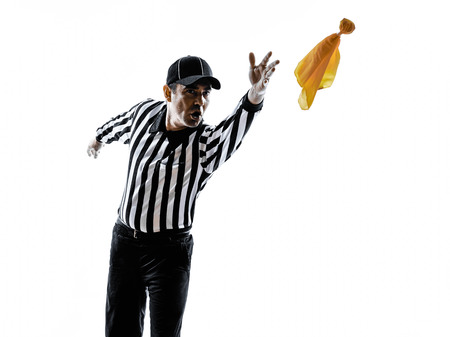 american football background: american football referee gestures in silhouette on white background