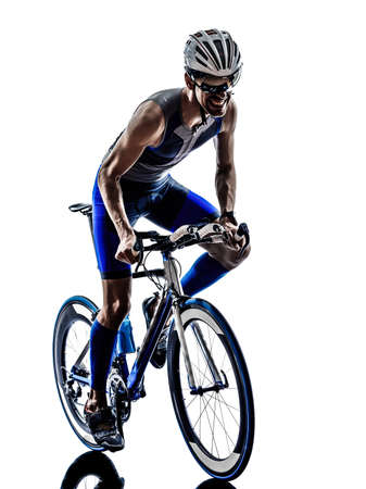 cycling silhouette: man triathlon iron man athlete biker cyclist bicycling biking in silhouette on white background