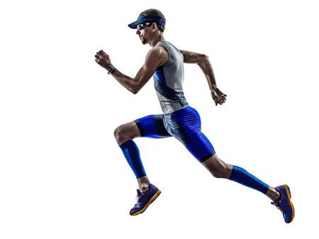 triathlon: man triathlon iron man athlete runners running in silhouette on white background