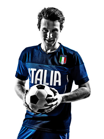 one italian soccer player man portraits football in silhouette white background photo