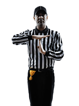 american football referee gestures time out in silhouette on white background Stock Photo