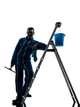 window cleaner: one  man window cleaner worker silhouette in studio on white background Stock Photo