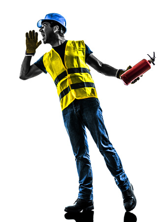 one construction worker screaming with fire extinguisher silhouette isolated in white background Stock Photo - 29569089