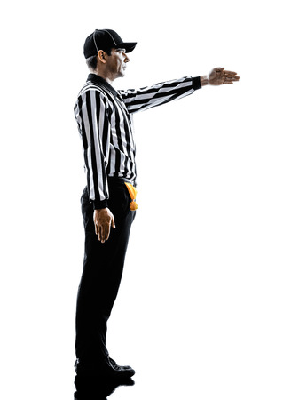 american football referee gestures first down in silhouette on white background Stock Photo - 29568839