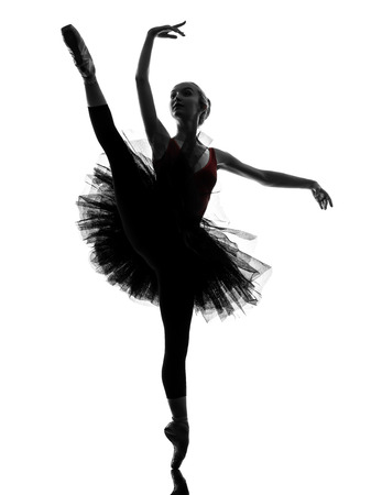 1 若い女性バレリーナ バレエ ダンサーの踊りのシルエット スタジオのチュチュと白い背景の上