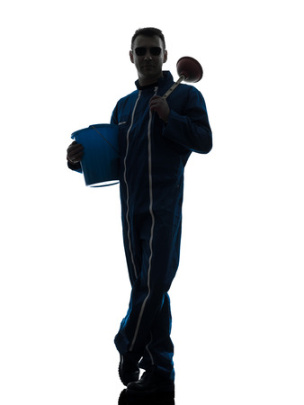 one  janitor cleaner cleaning silhouette in studio on white background Stock Photo - 30154068
