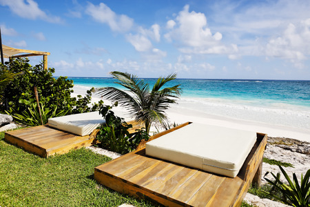tulum: terrace of a cabana with a view of the beautiful beach of tulum yucatan mexico