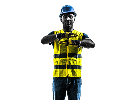 emergency vest: one construction worker signaling with safety vest emergency stop silhouette isolated in white background