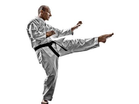 kata: one karate kata training man isolated on white background