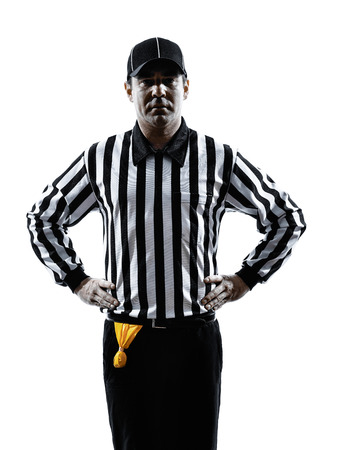 offside: american football referee gestures offside in silhouette on white background Stock Photo
