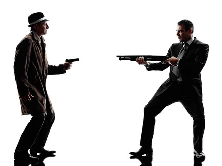 one detective man criminal investigations investigating crime in silhouette on white background photo