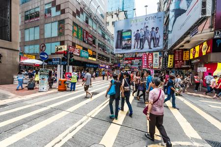kowloon, hong kong - june 9, 2014: people shopping at ladies market mong kok Editorial
