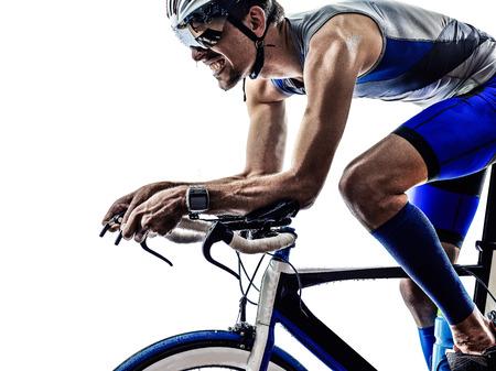 man triathlon iron man athlete biker cyclist bicycling biking in silhouette on white background