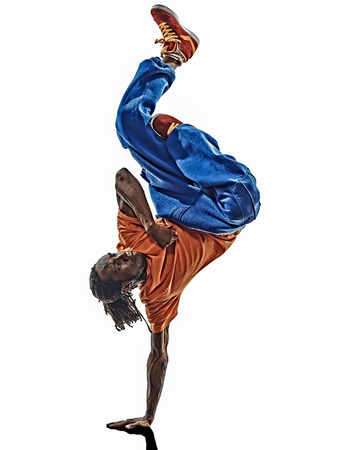 one hip hop acrobatic break dancer breakdancing young man handstand silhouette white background Stock Photo