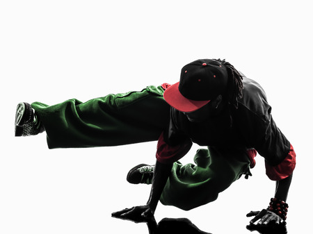 1 ヒップホップ アクロバティックなブレーク ダンサー ブレーク ダンス若者逆立ちシルエット ホワイト