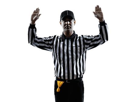 白のシルエットでアメリカン フットボールの審判のジェスチャー 写真素材