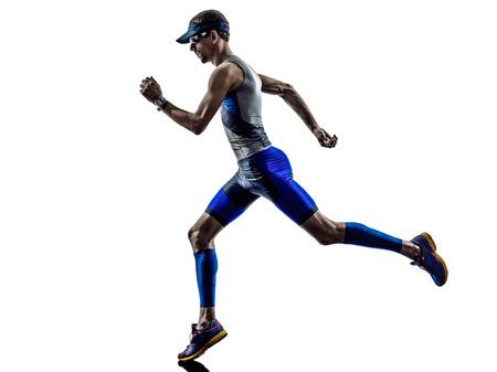 triathlon: man triathlon iron man athlete runners running in silhouette on white