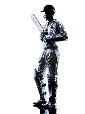 batsman: Cricket player batsman in silhouette shadow on white