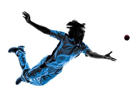 werper Cricket speler in silhouet schaduw op witte Stockfoto