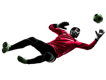 one  soccer player goalkeeper man jumping in silhouette isolated white  photo