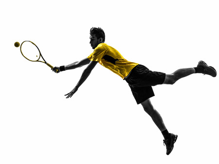 één man tennisser in silhouet op wit Stockfoto