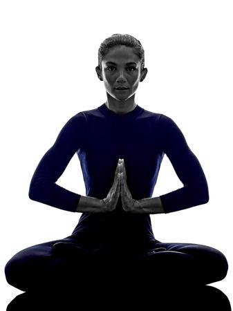 asanas: woman exercising Padmasana lotus pose yoga silhouette shadow white