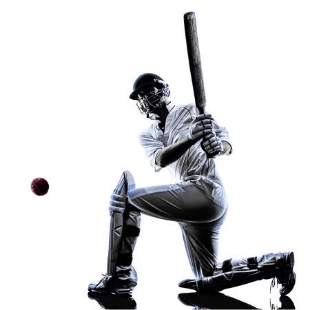 白の背景に影をシルエットでコオロギ プレーヤー打者