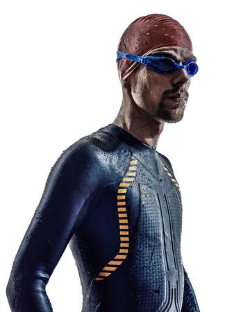 triathlon: man triathlon iron man athlete swimmers portrait in silhouette on white background Stock Photo