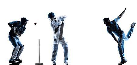 Cricket spelers in silhouet schaduw op witte achtergrond