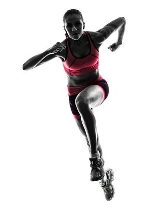 één vrouw running jogger joggen in silhouet op een witte achtergrond