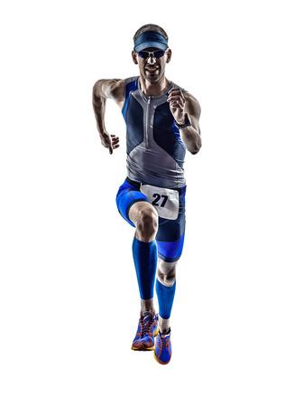 白い背景の上にシルエットで実行されている男トライアスロン鉄男アスリート ランナー