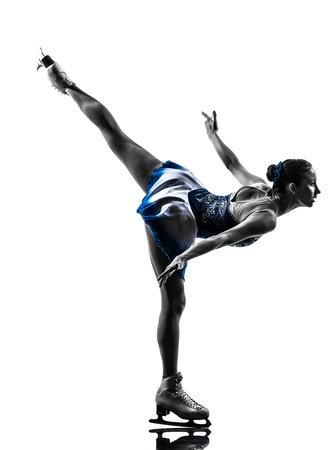 Une femme glace skater en silhouette sur fond blanc Banque d'images - 33048527