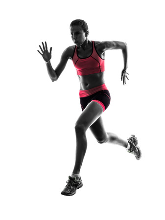 one  woman runner running jogger jogging in silhouette on white background photo