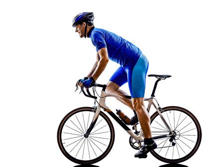 ciclista: una bicicleta de ruta ciclista en silueta sobre fondo blanco