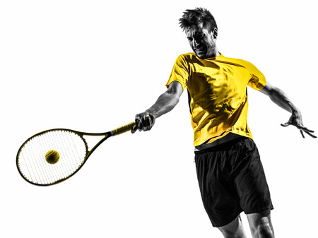 one man tennis player portrait in silhouette on white background Banque d'images