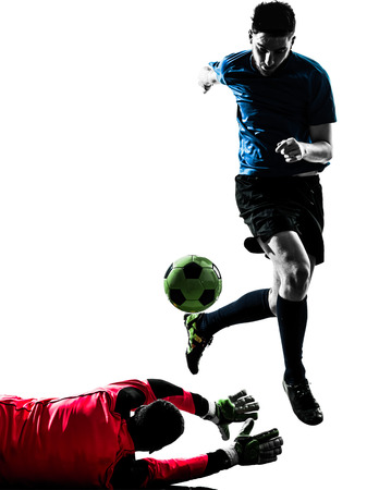 two  soccer player goalkeeper men competition in silhouette isolated white background photo