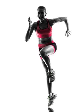 gente corriendo: una mujer running jogging en silueta sobre fondo blanco Foto de archivo