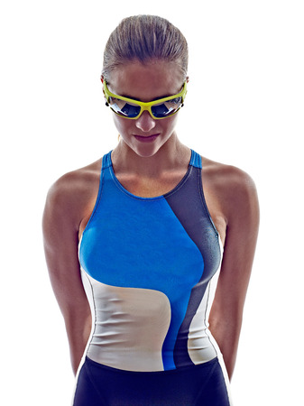 ironman: woman triathlon ironman athlete  on white background Stock Photo