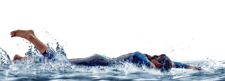 woman triathlon ironman athlete  swimmers on white background Stock Photo